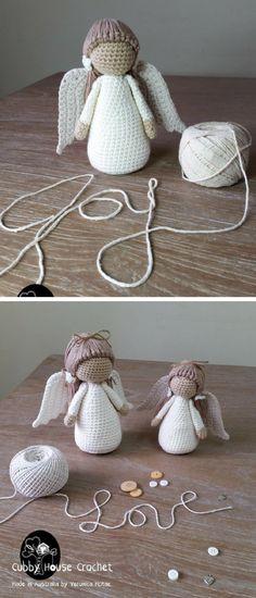 Angel Crochet Pattern 4 PDF 's English, Swedish, Dutch, German. Cubby House Crochet by Veronica McRae #ad #amigurumidoll #amigurumipattern #amigurumi #crochet #crocheting #haken #haëkeln #patternsforcrochet #crochetpattern #pattern #printable #instantdownload