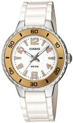 Casio Womens LTP1331-7AV White Resin Quartz Watch with White Dial