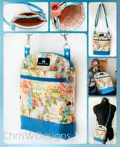 The Serendipity Hip Sew Along - With Ellen - to April 2016 (ChrisW Designs) Sewing Hacks, Sewing Projects, Duck Tape Crafts, Hipster Bag, Wallet Tutorial, Handbag Patterns, Hip Bag, Quilted Bag, Little Bag