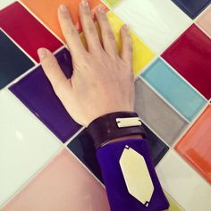 Dress up your arms #bracelets #tiles #colors #textures #leather #bone #cuff #accessories #nyc #parmemarinjewelry #jewelry #jewels