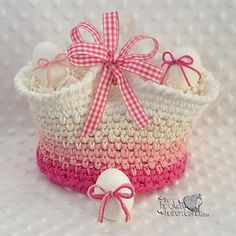 Simply Pampered Basket - free crochet pattern - Free Easter Basket Crochet Patterns - The Lavender Chair