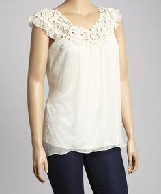 Love this Ivory Lace Yoke Top - Plus on #zulily! #zulilyfinds