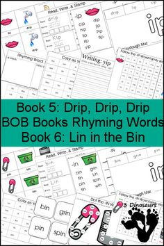 Early Reading Printables: BOB Books Rhyming Words Books 5& 6: -IN & -IP rhyming words - 3 part cards, cube flashcards, playdough mats, and more - 3Dinosaurs.com