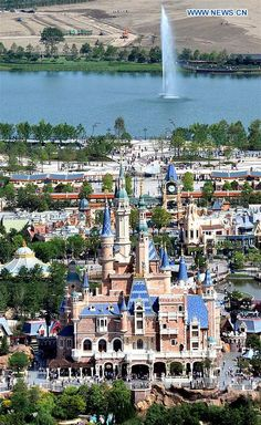 The aerial photo taken on May 17, 2016 shows the Fantasy Fairy Tale Castle of Shanghai Disneyland in Shanghai, east China.