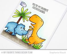 Handmade card from Stephanie Klauck featuring You're Rawr-some stamp set and Blueprints 21 #mftstamps