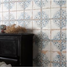 Made from ceramic, these Vecchio Diamante Indigo Tiles have a vintage pattern with an antiqued design. They're perfect for a feature wall or statement floor. White Wall Tiles, Blue Tiles, Wall And Floor Tiles, Wood Effect Tiles, Tiles Texture, Indigo Walls, Wall Tile Adhesive, Hexagon Mosaic Tile, Small Tiles