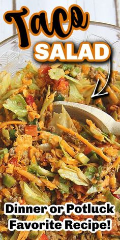 Apr 2020 - This TACO SALAD recipe is my go-to when I want a quick and easy meal. I love the spices and Doritos crunch! Plus, as evidence proved, it's a hit to take along to dinners and functions, it's the perfect camping and potluck salad! Easy Taco Salad Recipe, Taco Salad Recipes, Spinach Recipes, Mexican Food Recipes, Beef Recipes, Real Food Recipes, Cooking Recipes, Healthy Recipes, Spinach Salads