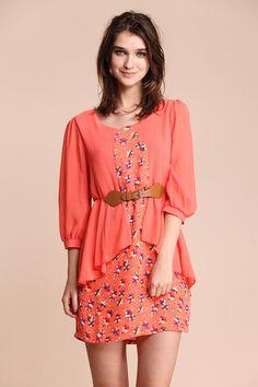 #SheInside  Orange Sailboat Print Half Sleeve Belt Dress - Sheinside.com