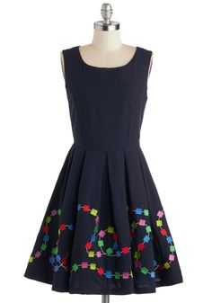 Gather 'round the game table for an enjoyable evening with friends in this navy-blue dress by Bea & Dot - a ModCloth exclusive! Featuring a pleated skirt and full lining, this winning A-line is proof that, when it comes to assembling charming ensembles, you hold all the right cards.