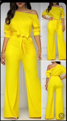 Classy Dress, Classy Outfits, Chic Outfits, Fashion Outfits, Yellow Jumpsuit, Look Fashion, Spring Fashion, Cheap Fashion, Fashion Women