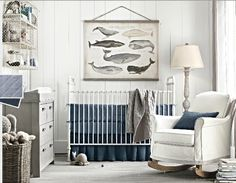 blue, gray and white whale nursery