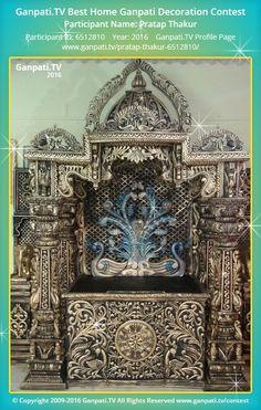 Pratap Thakur Page on Ganpati.TV where all Ganpati festival decoration pictures and videos are shared. Ganpati Decoration Theme, Ganapati Decoration, Temple India, Jain Temple, Thermocol Craft, Decorating With Pictures, Decoration Pictures, Ganpati Festival, Mandir Design