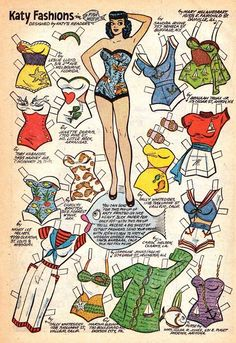 Can I have all of these outfits? Please? Katy Keene from Archie comics in the 50s <3