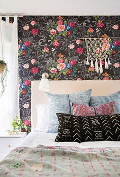 Loving these prints in this maximalist bedroom.