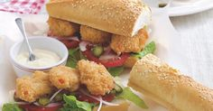 The best Po boy sandwich recipe you will ever find. Welcome to RecipesPlus, your premier destination for delicious and dreamy food inspiration. Poboy Sandwich Recipe, Po Boy Sandwich, Prawn Recipes, Green Tomatoes, Scampi, Tray Bakes, Food Inspiration, Sandwiches, Baking