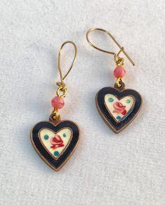 #Vintage Black Enamel Heart Earrings, #Vintage Hearts,  Enamel Earrings,  Heart Earrings by Lucy Isaacs by LucyIsaacsJewelry on Etsy