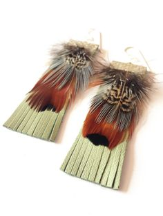 Pheasant Feathers with Mint Leather Tassle Earrings by HFCO, £12.00