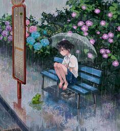Tôi đã luôn chờ cậu (╯_╰) Rainy Days, Art Anime, Manga Anime, Anime Artwork, Animes Manga, Manga Art, Totoro, Sad Anime Girl, Anime Girls