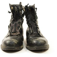 Men's sz 11 Distressed Black Leather Combat Work Military Boots (86 CAD) ❤ liked…