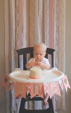 Pink Ombre Smash Cake and High Chair Decor