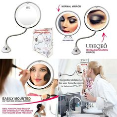 Flexible Gooseneck 6 8 10x Magnifying LED Lighted Makeup Mirror 19