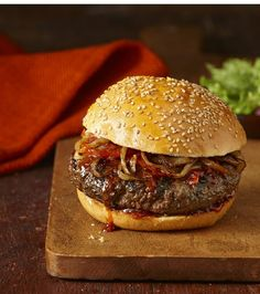 Top with grilled onions, peppers and tangy BBQ sauce for easy restaurant-style burgers.