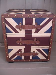 Fabulous Antiqued Union Jack 3 Drawer Bedside Cabinet/Table New H53xW47xD39cm