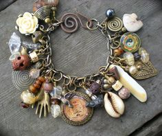 Lucky Mojo Shaman Amulet Charm Bracelet by maggiezees on Etsy, $105.00
