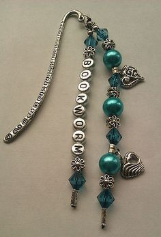 Gifts Bookworm or Personalised Beaded Heart Bookmark in Teal | eBay