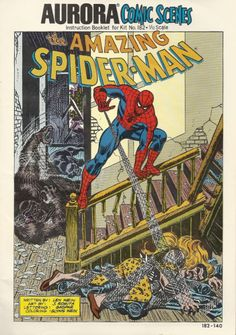 Aurora Spider-Man model kit artwork by John Romita Sr. I built several of these as a kid in the 70's. The way Spidey was positioned, you could mount him anywhere in the room. On a desk, the wall, a bookcase, one time I taped him up on the ceiling.