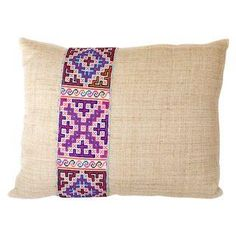 Another great, handwoven natural hemp pillow with finely embroidered vintage Hmong applique.