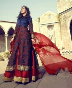 Stunning Midnight Blue and Red Lehenga Kameez