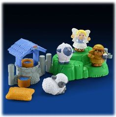 $27.20 Fisher Price Little People - Lil Shepherds. Seven-piece Lil Shepherds playset includes angel and shepherd (with baby sheep) figures, two more sheep figures, water well, grassy meadow with connectable fence posts and feed bag.