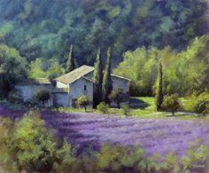Tableau - Peinture : Mas et Lavandes en Provence - Huile sur Panneau - 46 x 38 cm (8F)