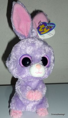 #TY #BeanieBoos Petunia Purple Bunny Rabbit Plush Bean Bag Animal Pink Ears 9""