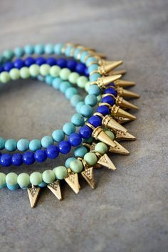 turquoise + neon green gold spike bracelets