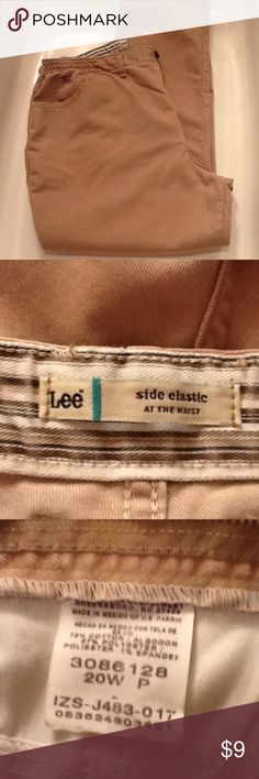 Lee side elastic at the waist khaki jeans Really comfortable side elastic at the waist khaki jeans. Cotton/polyester, size 20wp. Used condition with normal wear. Lee Jeans Straight Leg