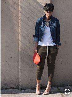 Denim jacket Tee  Joggers Sam Edelman sandals  MK Quilted shoulder bag