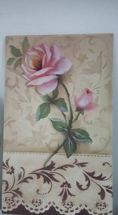 Stencil Painting, Fabric Painting, Painting On Wood, Stenciling, 3d Canvas Art, Diy Canvas, Decoupage Vintage, Decoupage Paper, Folk Art Flowers