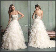 2014 charming white strapless a-line beaded tiered ruffles Muslim wedding dress bridal dresses vestido de noiva barato