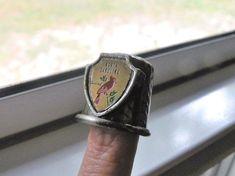 Vintage Pewter N Carolina Cardinal State Thimble