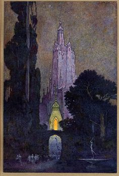 Illustration by Franklin Booth, for The Flying Islands of the Night by James Whitcomb Riley, 1913 (via Golden Age Comic Book Stories) Edmund Dulac, Franklin Booth, Charles Perrault, Fairytale Art, Nocturne, Children's Book Illustration, Landscape Illustration, Art Plastique, Belle Photo