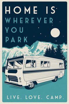 vintage retro camping silk screen print poster live love camp camper night sky - etsy