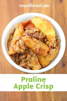 This easy slow cooker dessert recipe is perfect for fall. Delicious Praline Apple Crisp is easy and flavorful—combine fresh-picked apples with gooey toffee and nutty pecans for a chunky sweet treat.
