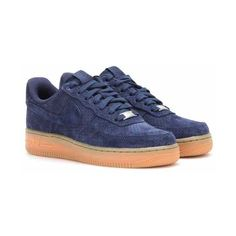 Nike Nike Air Force 1 Suede Sneakers ($123) ❤ liked on Polyvore featuring shoes, sneakers, nike footwear, suede shoes, nike trainers, blue suede sneakers and nike sneakers