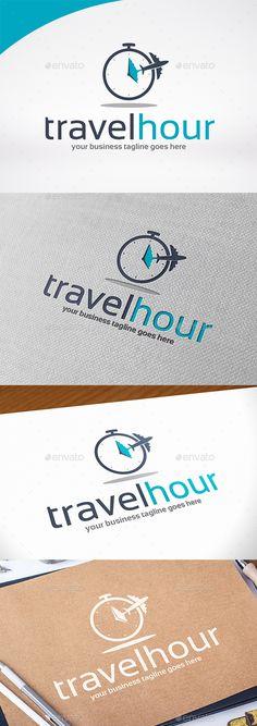 Travel Hour Logo Template PSD, Vector EPS, AI Illustrator #logotype Download here: https://graphicriver.net/item/travel-hour-logo-template/16936271?ref=ksioks