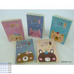 Kawaii Notebooks - Cute Animals Head Design - Spiral Bound (30 books - 5 Assorted Designs) Novelty Rubbers Erasers Kawaii Stationery Wholesales