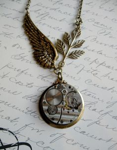Vintage steampunk necklace watch movement brass by botanicalbird