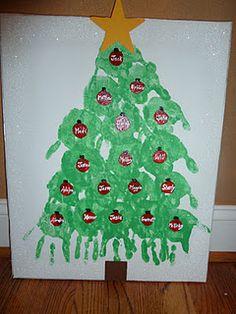 Handprint Christmas tree for teacher gift