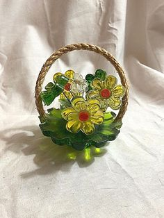 Vintage Lucite Flowers with Butterfly in Basket Hippie Groovy Hippie Flowers, Plastic Flowers, Basket, Butterfly, Retro, 1980s, Vintage, Color, Colour